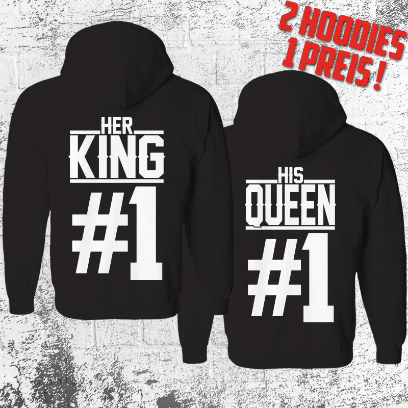 King Queen Hoodie Pärchen Pullover Wunschdatum The King His Queen Partner Weiß