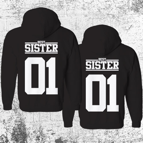 Details zu SISTER 01 Hoodie Pullover Schwarz Geschwister Beste Freundin Pärchen